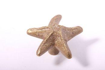 Knopje ster voor meubelen en keukens brons antiek
