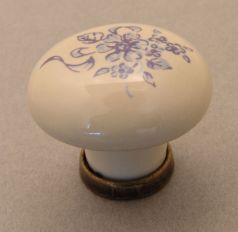 Knop wit porselein 31mm met blauwe bloem en brons antiek