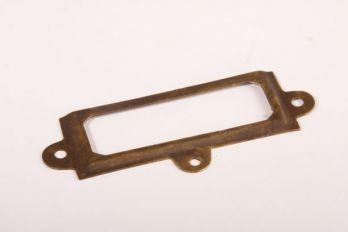 Etikettenhouder brons antiek 37x93mm + 3x 3,0x16mm bolkop