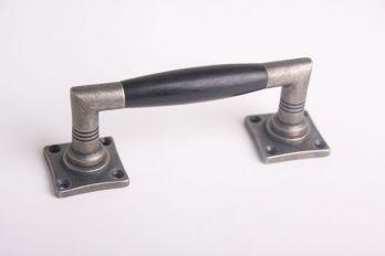 Deurgreep 150mm ton-model kort zilver antiek met zwart ebben
