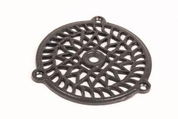 Ventilatierooster gemaakt van gietijzer in de kleur zwart rond 130 mm
