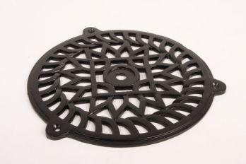 Rooster zwart gietijzer rond 200mm voor ventilatie en luchtkanaal