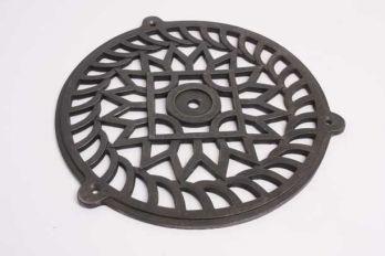 Groot rooster gietijzer in tinkleur, roest of zwart 250mm diameter