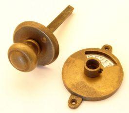 WC sluiting met ronde knop brons antiek