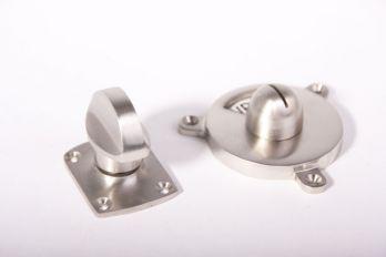 WC sluiting vrij bezet zwart wit - geborsteld nikkel platte knop