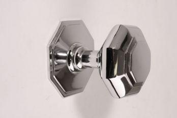 Deurknop blinkend chroom achthoekig 75mm