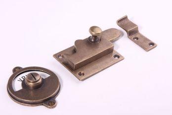 WC sluiting vrij-bezet toiletoverslag brons antiek - haak/recht