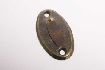 Slotplaatje met afdekplaatje bijzet insteekslot brons antiek