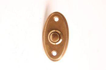 Deurbel-beldrukker ovaal brons antiek 33 mm