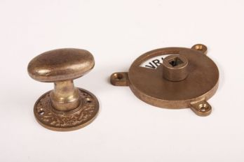 WC sluiting brons antiek kleine ovale knop + rozet 738 zwart/wit