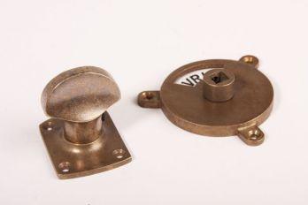 WC sluiting brons antiek kleine ovale knop + rozet 854 zwart/wit