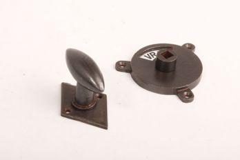 WC sluiting roest ovale knop zwart/wit vrij/bezet met ruit rozet