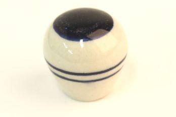 Knop wit porselein rond 30mm met blauwe strepen