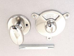 WC sluiting vrij bezet Blinkend nikkel ovale knop.
