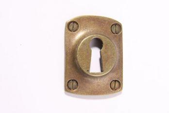 Rozet met sleutelgat voor baardsleutel brons antiek 37mm