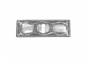 Sleutelplaatje dun brons antiek 32mm dwars voor lades. Klassieke sleutelplaat gemaakt van massief messing plaat met een natuurlijke brons antieke afwerking.