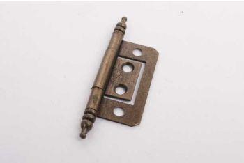 Klassiek scharnier voor inliggende deurtjes brons antiek met sierkop 51mm