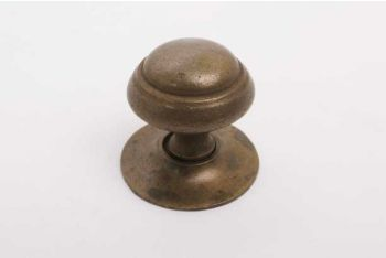 Klassieke meubelknop met rozetje brons antiek rond 32mm