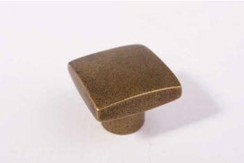 Knop vierkant brons antiek 24mm massief messing