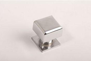 Vierkante knop modern blinkend chroom 20mm met voetje