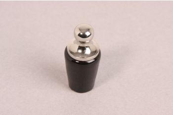 Knop zwart porselein met blinkend nikkel 21mm