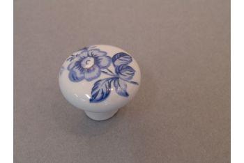 Knop wit porselein 38 of 32mm met Delfts blauwe bloem