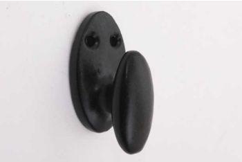 Kapstokhaakje Chemin de Fer zwart gietijzer met enkele haak 35mm