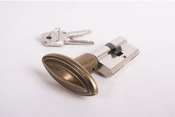 Profiel-Cilinderslot SKG** 30/30 nikkel met ovale, brons antieke knop met randje