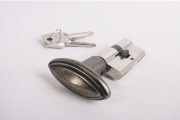 Profiel-Cilinderslot SKG** 30/30 nikkel met ovale, zilver antieke knop met randje