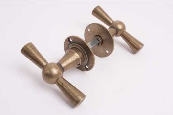 Klassieke deurkruk kluis T-kruk met rozetten in brons antiek per paar