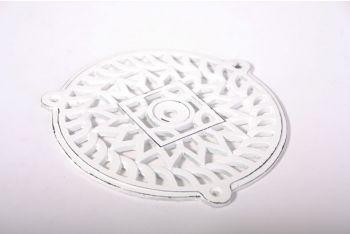 Rond rooster van gietijzer in wit (oude look) 180mm voor luchtkanaal