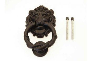 Deurklopper Zwart leeuwenkop 150mm met aanslag