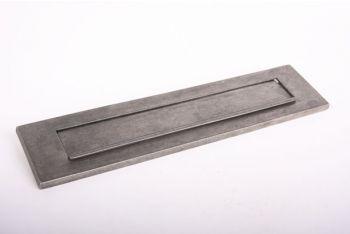 Brievenbus briefplaat zilver antiek 328mm met regenrand