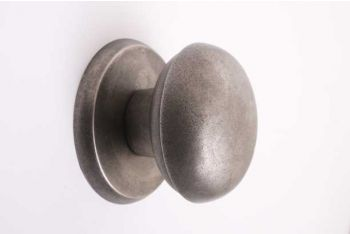 Deurknop zilver antiek voor voordeur met rozet rond 80mm