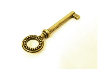 Sleutel brons antiek met bolletjes - kleine baard en gat 45mm
