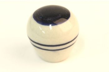 Knop wit porselein 30mm blauwe streep