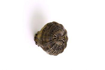 Geweven knop brons antiek fijne draad 35mm