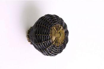 Geweven knop zwart leer brons antiek 44mm
