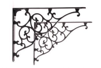 Plankdrager zwart gietijzer landelijk hoeksteun 275 x 205mm