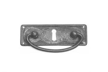 Dunne ladegreep brons antiek 97 mm met sleutelgat